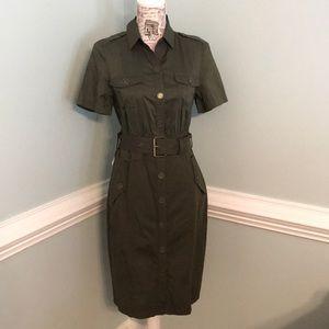 Jones New York Olive Green Stretch Dress